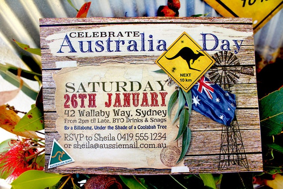Australia day outback invitation family bbq party for Australian decoration