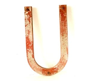 """Vintage Industrial Metal Letter """"U"""" Marquee Sign, 10 inches tall (c.1950s) N1 - Industrial Decor, Altered Art Assemblage Supply"""