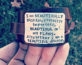 hand stamped beautifully broken bracelet genuine leather cuff