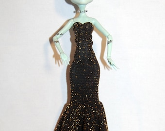 Gold Sparkle Gown for Monster High or Ever After High Dolls READY TO SHIP