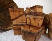 Vintage 6 Mini Wood Berry Baskets - Farm House Fresh Finds for Storage - 6 Rustic Organizer Bins Collection - Half Dozen Small Wood Baskets