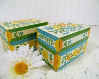 Retro Flower Power Litho Metal Set of 2 Matching Recipe Boxes - Vintage Syndicate Mfg. Co. - Mid Century BoHo Hippie Groovy File Organizers