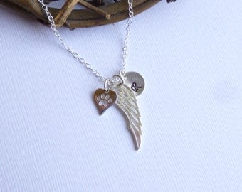 Sterling Silver Heart Paw Print Angel Wing Initial Necklace... Pet Love or Rememberance