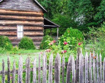 Cabin Print, Farmhouse Decor, Rustic Wall Decor, Flowers, Farm Photography, flowers, Fence, Log Cabin, Flower Garden, Primative Decor, Cabin