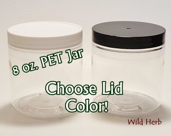 PET JARS + LID - 8 oz. size *Choose Lid Color: White unlined or Black lined