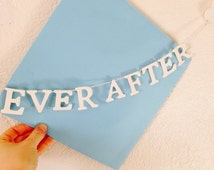 Happy Ever After and Hearts - White Wooden Letter Bunting - Wedding Party - Decorate yourself Match your color Scheme