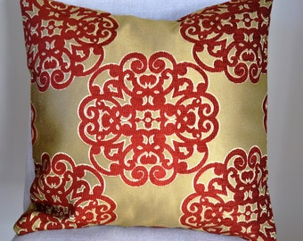 Decorative Throw Pillow 18x18 Inch, Medalion Pillow, Holiday Decorative  Accent Pillows In Red And