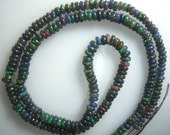 Ethiopian Black Opal Multi Colour smooth Rondelle  Beads  Size 3MM To 4MM 14'' Wholesale Price