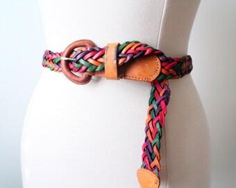 Vintage 80s Multicolored Braided Boho Hippie Genuine Leather Belt Size 32