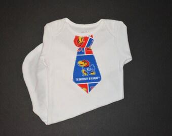 KU Boy Clothes - Kansas Jayhawk Baby - KU Tshirt - Toddler Hawks Outfit - Kansas University Tie Bodysuit or T-Shirt - KU Baby Boy - Jayhawks