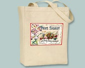 Vintage French Label,  Pave Sigaut, Fruits Glaces, on a Natural or Black Canvas Tote -- Selection of sizes available