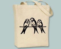 Cute Vintage Parakeets illustration on Canvas Tote with shoulder strap - Selection of sizes colors available