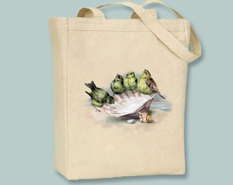 Yellow Birds on Seashell Canvas Tote with shoulder strap - selection of sizes available