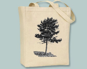 Cluster Pine Tree Image on Canvas Tote -- Selection of  sizes available