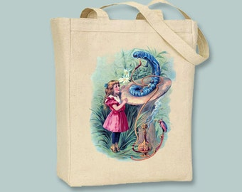 Alice in Wonderland with Caterpillar on Canvas Tote - Selection of sizes and colors available