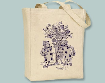 Alice In Wonderland Original Illustration Card Guards on Canvas Tote - Selection of sizes and ANY IMAGE COLOR available
