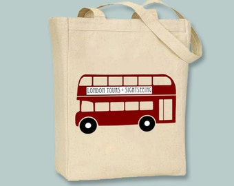 Fun British Double Decker Bus Canvas Tote  - Selection of sizes available