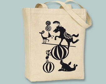 Silly Circus Animals Silhouettes Canvas Tote -- Selection of sizes available, Image in ANY COLOR