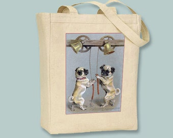 Vintage Pugs ringing a Bell - Black or Natural Canvas Tote  - Selection of sizes and personalization available