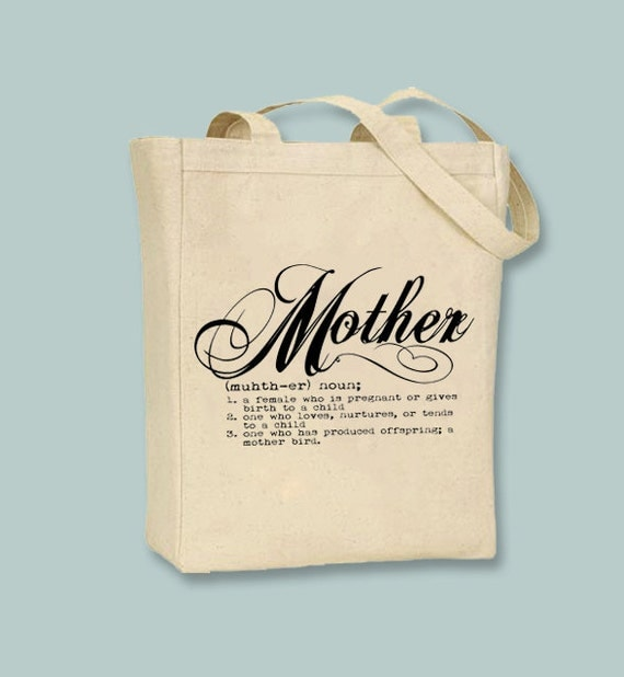 Definition Mother Typography Canvas Tote -- Selection of  sizes, Image in ANY COLOR
