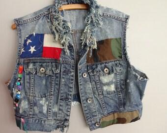 distressed Denim Jean Vest sleeveless jacket Grunge denim vest
