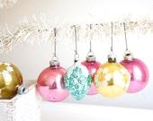 Vintage Christmas Glass Ball Ornaments - Set of six - Shabby Chic
