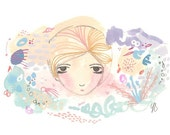 Art print abstract whimsical girl garden colorful giclee print