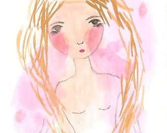 Original ACEO, Pretty Girl Illustration, Blonde Hair, Pink, Whimsical Girl ACEO, Original Art, Christmas gift, I Gave you Everything