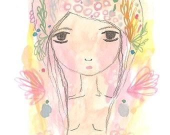 Virgo print art girl illustration zodiac watercolor painting