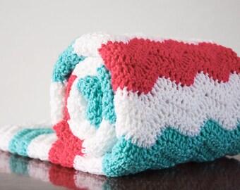 SALE - Lightweight Pink and Teal Chevron Crochet Baby Blanket