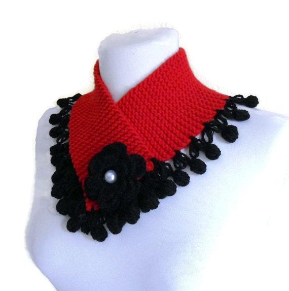 cuello, cuello más cálida, invierno, tejido a mano, moda, rojo y negro, regalo de Navidad de punto punto