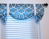 Morrow Regatta Blue Tie Up Curtain VALANCE  Handmade in the USA
