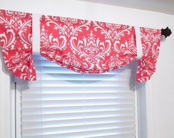 Custom Made Coral White Damask Tie Up Curtain Valance