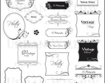 ORNAMENTAL VINTAGE FRAMES pack 20 - Digital vintage style designs. Png & Jpeg digital images. Instant Download.N