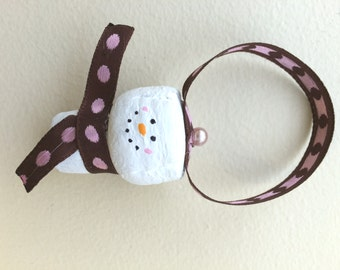 Brown and Pink Snowman Cork Ornament