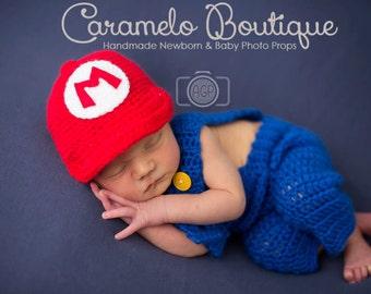 Super Mario Bros Baby Boy Outfit: Cap and Overall Set-Super Mario Newborn Photo Props-Crochet Super Mario Inspired Newborn Outfit Props