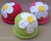 CROCHET PATTERN - Spring Fling - a beanie hat with daisy flower in 5 sizes (Baby - Adult) - Instant PDF Download