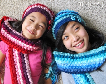 CROCHET PATTERN - Bobblicious Scarf & Hat - crochet slouchy hat pattern, scarf pattern (Toddler, Child, Adult sizes) - Instant PDF Download