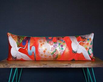 Wedding Gift -Large Red Cushion -Kimono Bolster Pillow -Mountain Crane River Flowers Green Velvet -Luxury Designer Bed Bolster Metallic Silk