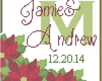 Modern Wedding Cross Stitch Pattern Winter Wedding Poinsettia