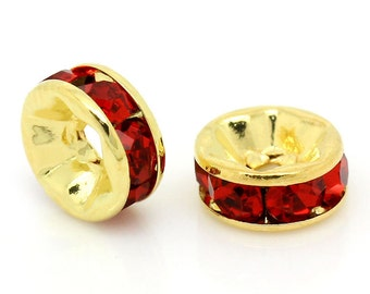 20 6mm Gold Plated RUBY RED Round Rhinestone Rondelle Beads  bme0282