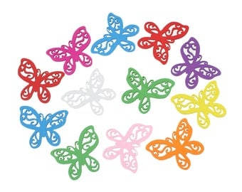 """10 Painted Wood Filigree BUTTERFLY Charm Pendants, mixed colors, 1-7/8"""",  cho0086"""