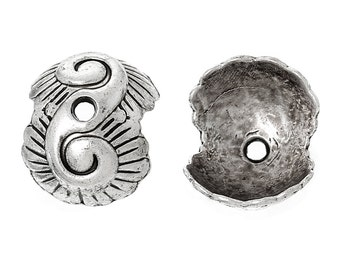 20 Antique Silver CLAM SHELL Metal Bead Caps, 13x11mm  fin0315
