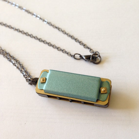 Harmonica Necklace: Harmonica Necklace Miniature Harmonica Hand By HappyWanderers