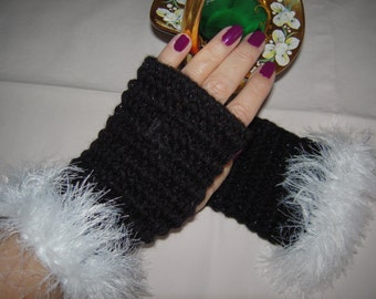 MADE TO ORDER handmade crochet fingerless gloves with faux fur/sparkle black mixed wool gloves Christmas  gift idea for her by goldenyarn