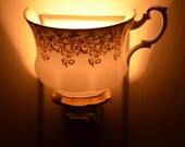 Nightlight Teacup White and Gold Vintage Bone China