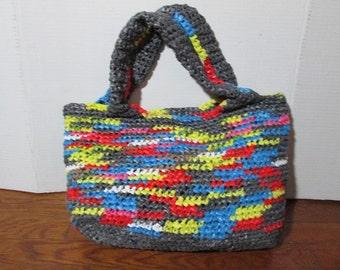 Crochet Plarn Purse - Repurposed Plastic - Folded handles - Lined
