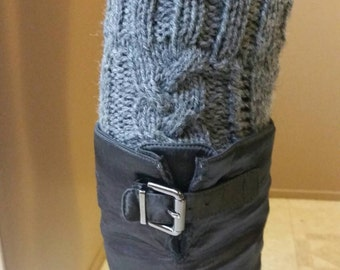 Cable Knit Boot Cuffs Gray- faux leg warmers boot socks