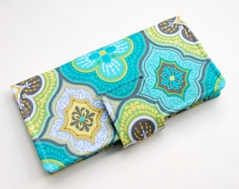 Women's Bifold Wallet - Smart Phone Clutch - Wristlet Option - Slim Wallet - Medallions in Turquoise - Made to Order