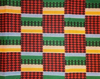 Kente African Print/Wax Cotton/Ankara/Craft Supplies/100% Cotton/African Textile Fabric   (sold by the yard)